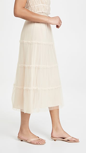 alice + olivia Kenya Gathered Midi Skirt