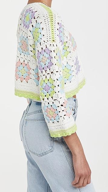 alice + olivia Anderson Crop Boxy Crochet Cardigan