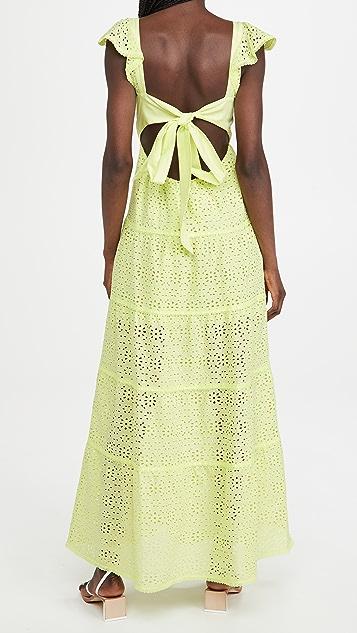 alice + olivia Jules 背面绑带拼接长连衣裙