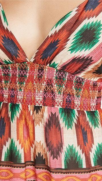 alice + olivia Santina Lace Tiered Midi Dress