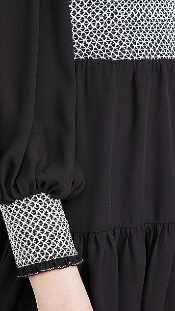 alice + olivia Elvira 抽褶衣身层褶连衣裙