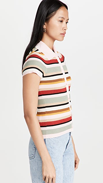 alice + olivia Colleen 条纹系扣 Polo 衫马球衫