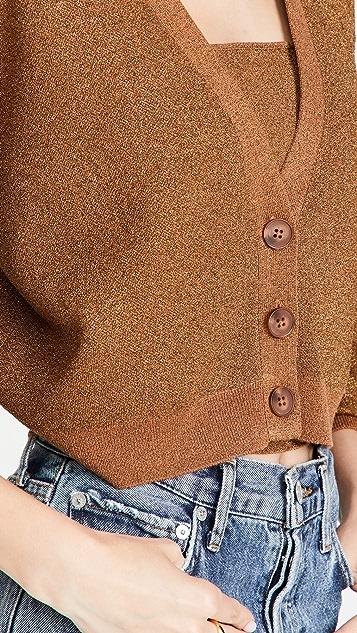 alice + olivia Zelina 金属色深 V 领系扣衫