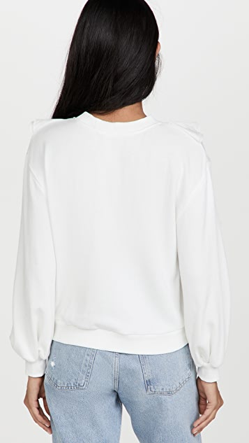 alice + olivia Carrie Ruffle Crewneck Sweatshirt
