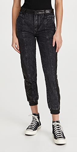alice + olivia - Jenny Vegan Leather Combo Jeans