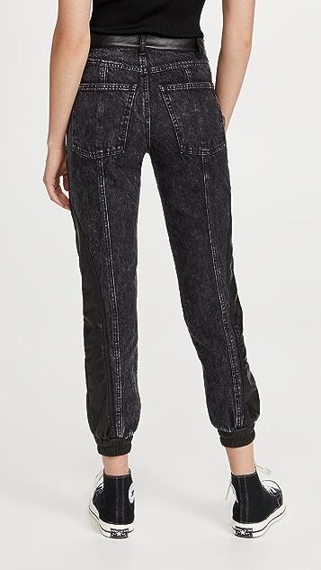 alice + olivia Jenny Vegan Leather Combo Jeans