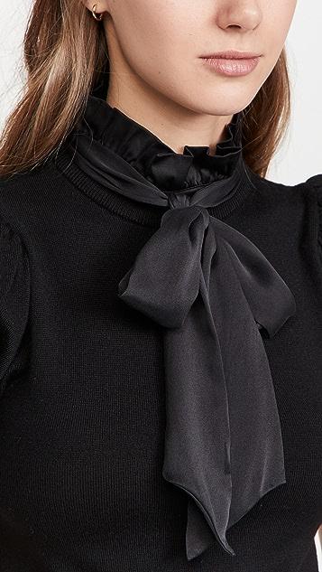 alice + olivia Chase Puff Sleeve Ruffle Neck Sweater