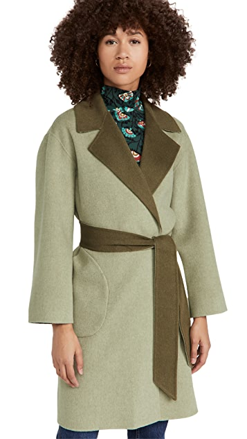alice + olivia Tomiko 双面穿系腰带大衣
