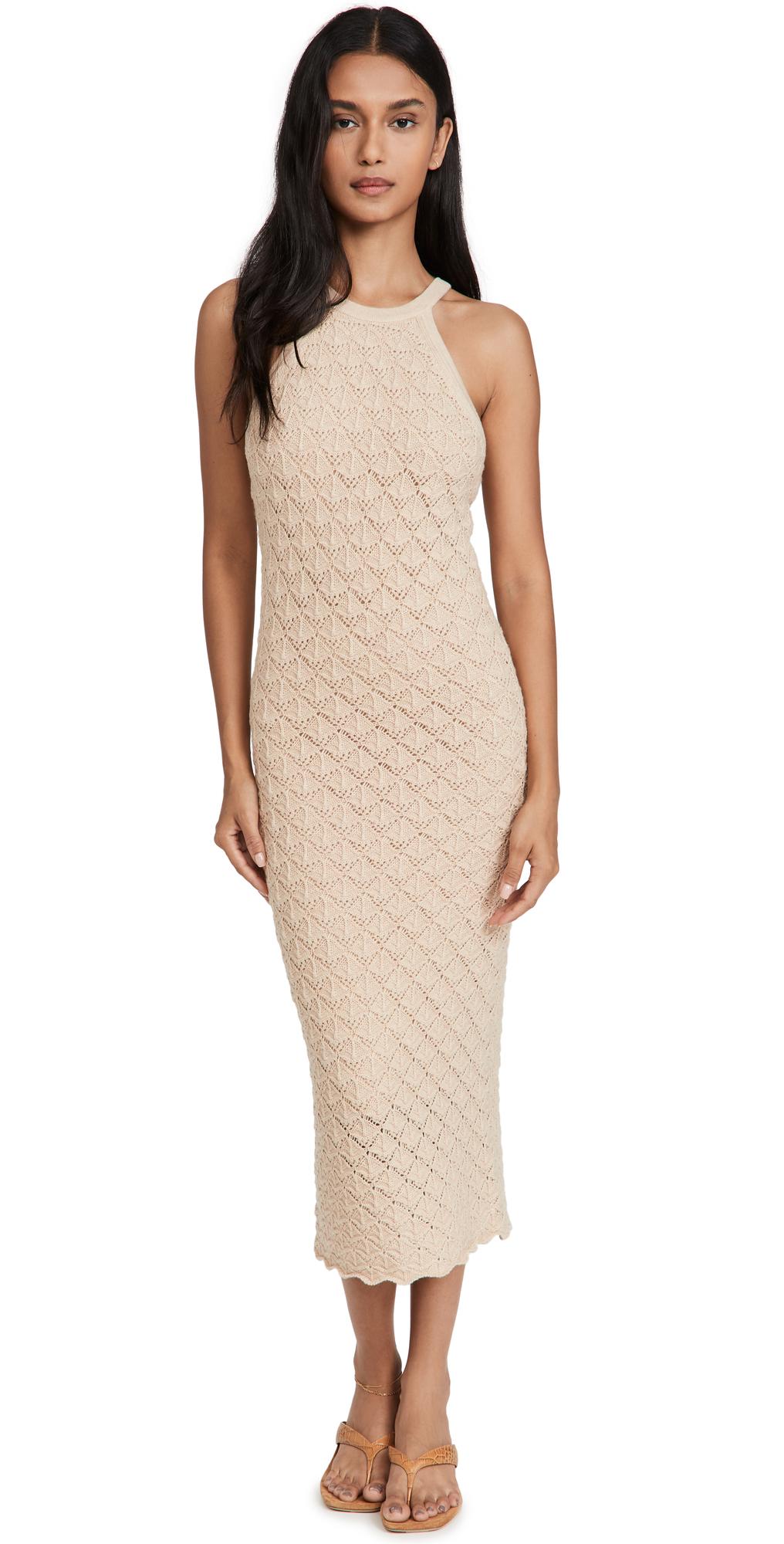 alice + olivia Lulu Halter Neck Fitted Midi Dress