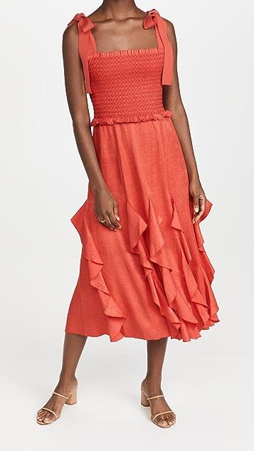alice + olivia Jocelyn Midi Dress with Bow Strap
