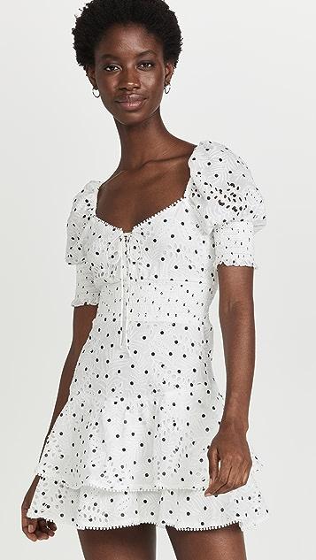 alice + olivia Crawford Sweetheart Puff Sleeve Mini Dress