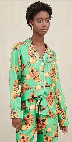 Aliette - Green Key Long Sleeve Silk Shirt