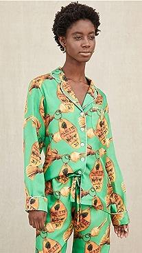 Aliette Green Key Long Sleeve Silk Shirt