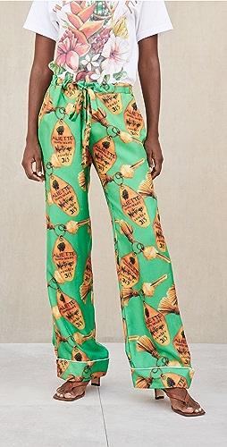 Aliette - Green Key Silk Pants
