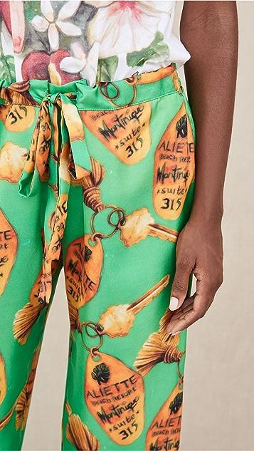 Aliette 绿色钥匙真丝长裤