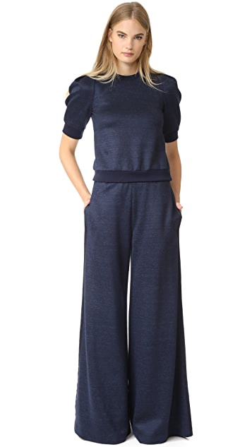 Adam Lippes Short Sleeve Puff Sleeve Sweatshirt