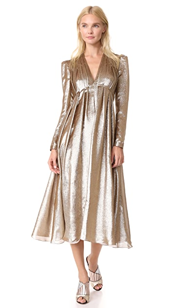 Adam Lippes Pleated V Neck Dress - Bronze