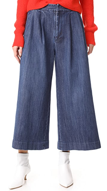 Adam Lippes Cropped Pleat Denim Pants
