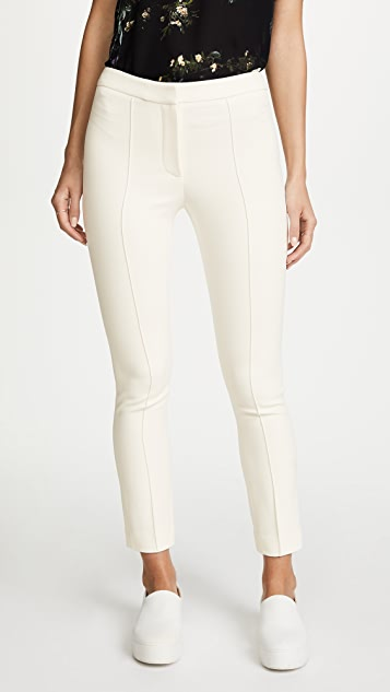 Adam Lippes Stretch Cady Cigarette Pants with Pintucks