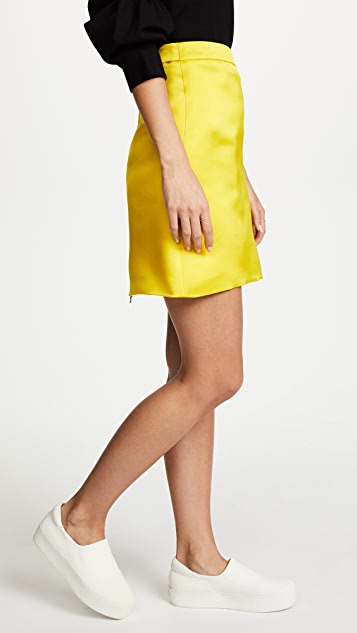 Adam Lippes Duchess Satin A-Line Miniskirt