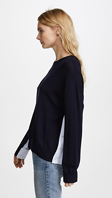 Adam Lippes Wool Sweater with Woven Sides