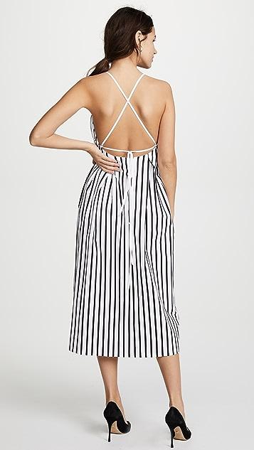 Adam Lippes Striped Cami Midi Dress