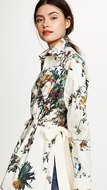 Adam Lippes Floral Poplin Jacket with Side Ties