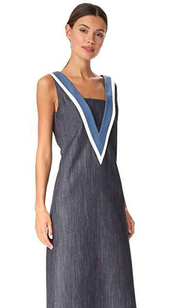 Adam Lippes V Neck Denim Dress