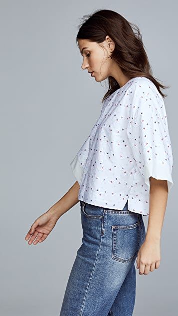 Adam Lippes Poplin Cropped Shirt with Embroidery