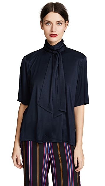Adam Lippes Silk Jersey Blouse with Scarf