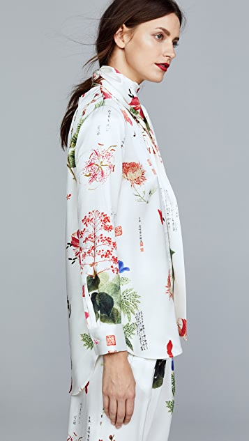 Adam Lippes Silk Charmeuse Blouse with Scarf