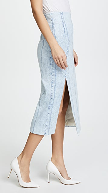 Adam Lippes Corded Denim Pencil Skirt with High Waist & Slit