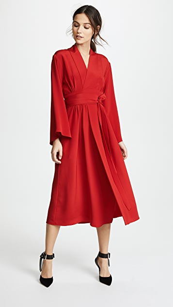 Adam Lippes Kimono Dress with Belt - Firecracker