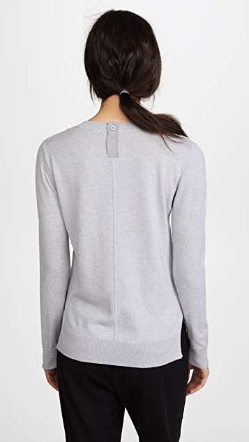 Adam Lippes Crew Neck Sweater with Lace Inset