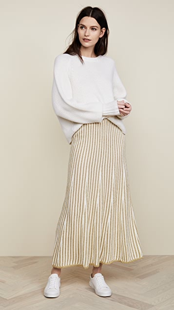 Adam Lippes Fluted Stripe Skirt