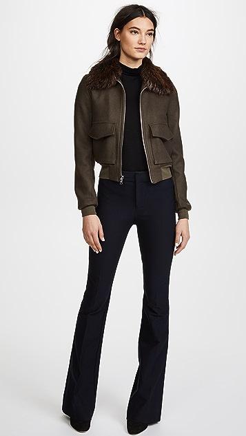 Adam Lippes Crop Jacket with Fur Collar