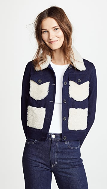 Adam Lippes Corded Denim Jacket with Shearling