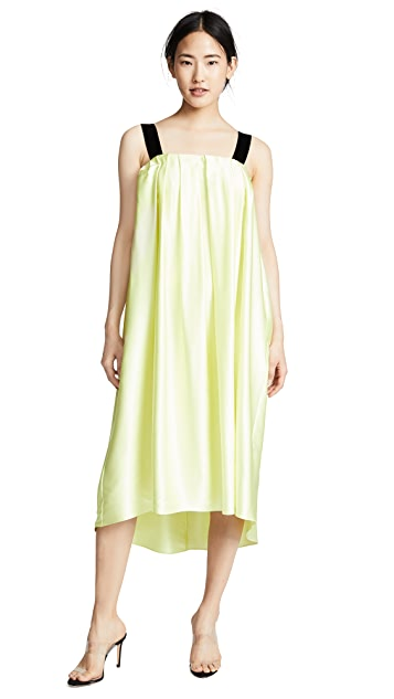 Adam Lippes Silk Charmeuse Midi Dress with Velvet Trim