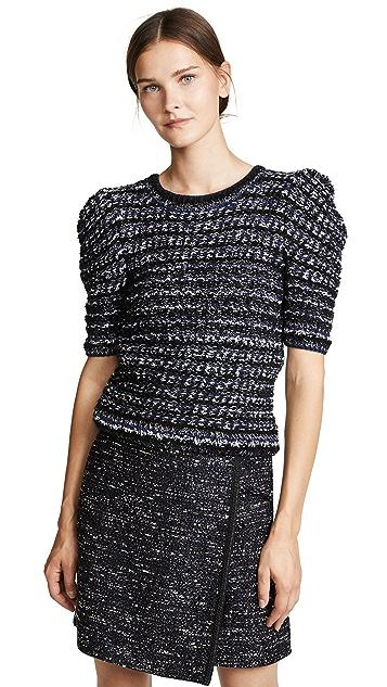 Adam Lippes Tweed Puff Sleeve Sweater