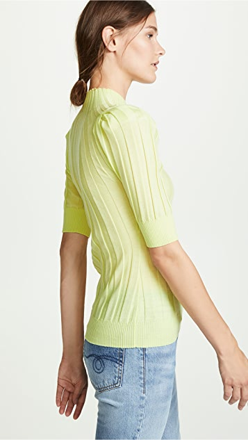 Adam Lippes Ribbed Puff Sleeve Sweater