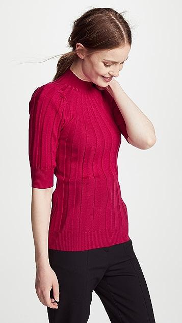 Adam Lippes Ribbed Puff Sleeve Sweater