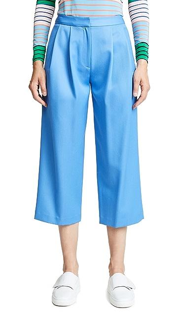 Adam Lippes Плиссированная юбка-брюки из габардина