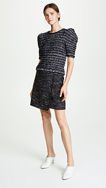 Adam Lippes Cotton Tweed Wrap Miniskirt