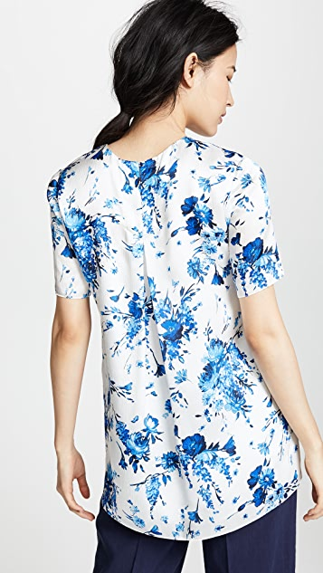 Adam Lippes Floral Hammered Silk Top