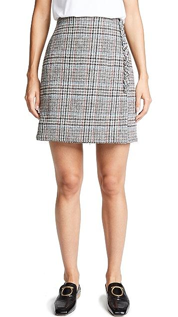 Adam Lippes Мини-юбка с запахом Scottish из твида с пуговицами