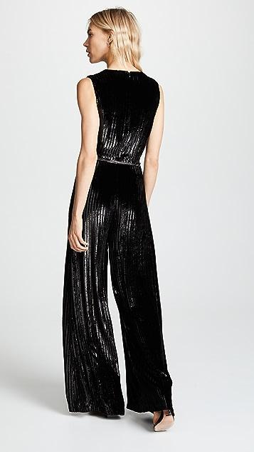 Adam Lippes Striped Silk Velvet Jumpsuit