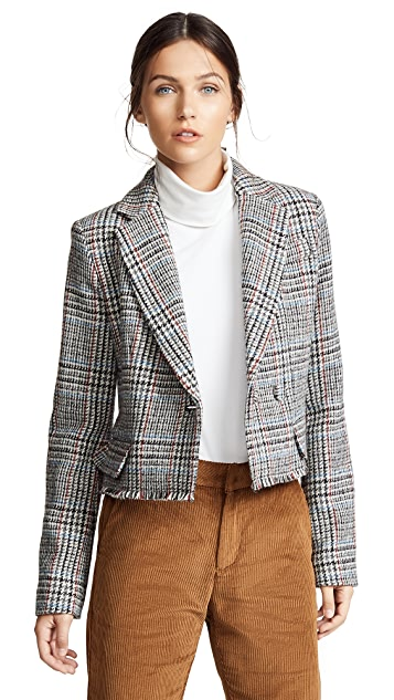 Adam Lippes Scottish Tweed Cropped Blazer