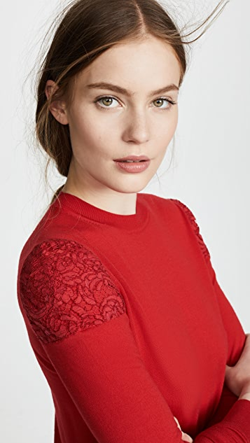 Adam Lippes Crew Neck Top with Lace Shoulders