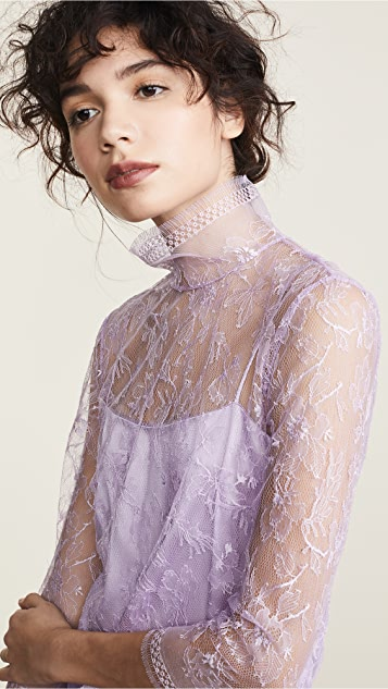 Adam Lippes Chantilly Lace Turtleneck