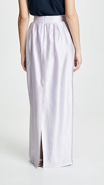 Adam Lippes Iridescent Pleated Long Skirt